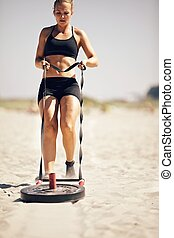 Crossfit Sled Pull - Crossfit exercise: Pulling a sled on...