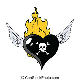Pirate Heart Flying with Fire