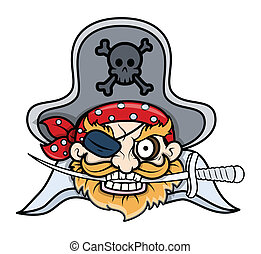 Captain Pirates Tattoo Face - Drawing Art of Cartoon Pirate...