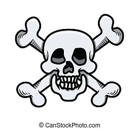 Crossed Skull - Vector Cartoon - Drawing Art of Cartoon...