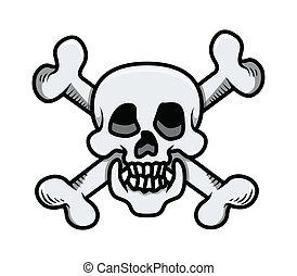 Crossed Skull - Vector Cartoon - Drawing Art of Cartoon...