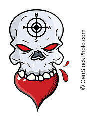 Heart Eating Skull - Vector Cartoon - Drawing Art of Cartoon...