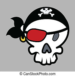 Pirate Eye Patched Skull - Drawing Art of Cartoon Pirate...
