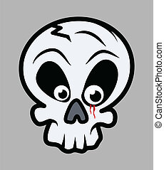 Blood in Innocent Skull Eye - Drawing Art of Cartoon Skull...