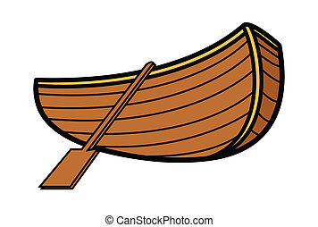 Old Vintage Wooden Boat - Vector - Drawing Art of Cartoon...