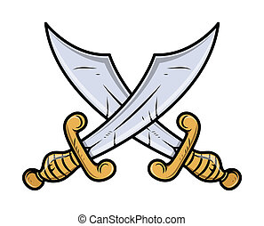 Crossed Swords - Vector - Drawing Art of Cartoon Old Retro...