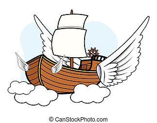 Flying Ship - Vector Cartoon
