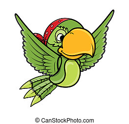 Flying Parrot - Vector Cartoon