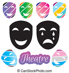 Theatrical mask - Set of black and colorful theatrical mask...