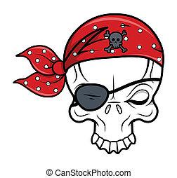 Funny Pirate Skull - Vector Cartoon