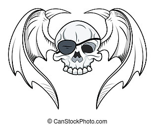 Flying Eye Patch Skull - Vector - Drawing Art of Cartoon...