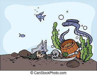 Sunken Treasure in Sea Bottom - Drawing Art of...