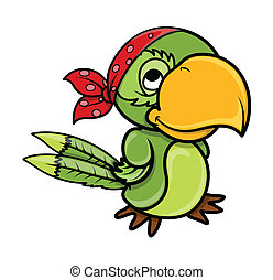 Pirate Parrot - Vector Cartoon - Drawing Art of Cartoon...