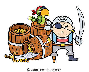 Pirate Captain with Treasure