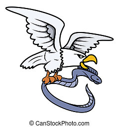 Sea Eagle Caught Eel Fish - Vector - Drawing Art of Cartoon...