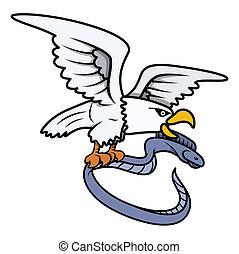 Sea Eagle Caught Eel Fish - Vector - Drawing Art of Cartoon...