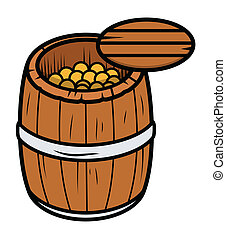 Old Wood Barrel of Gold Coins - Drawing Art of Old Wood...