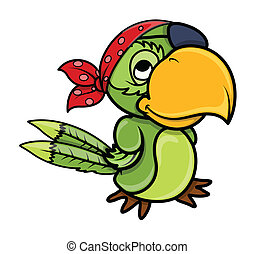Pirate Parrot - Drawing Art of Cartoon Pirate Parrot Bird...