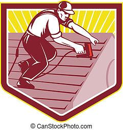 Roofer Roofing Worker Retro - Illustration of a roofer...