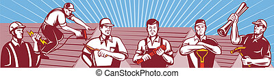 Contruction Workers Tradesman Retro - Illustration of home...