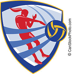 Volleyball Player Spiking Ball Crest - Illustration of a...