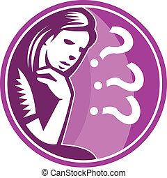 mujer, pensador, pensamiento, preocupación, Retro