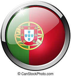 Portugal Round Metal Glass Button