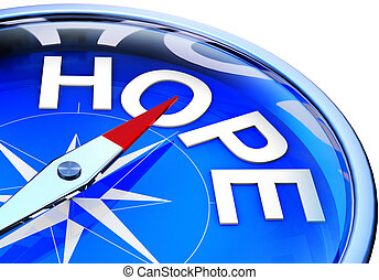 hope - 3D rendering of a compass with a hope icon