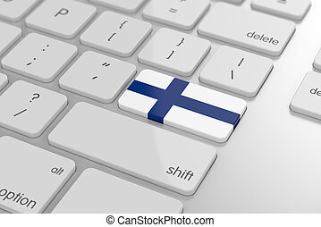 Finnish flag button - 3d render of finnish flag button with...