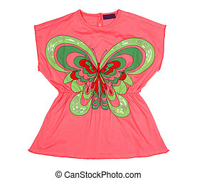 Pink tunic with applique in the form of a butterfly