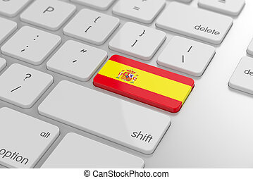 Spanish flag button - 3d render of spanish flag button with...