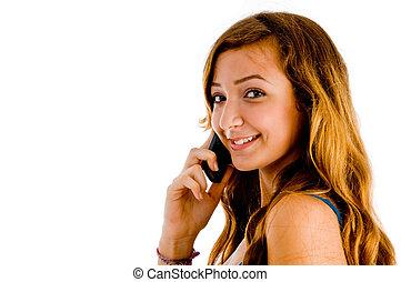 beautiful girl on cellular phone - beautiful girl...