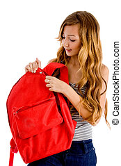 curious student unziping bag - curious student unzipping bag...