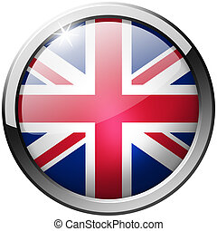 United Kingdom Round Metal Glass Button