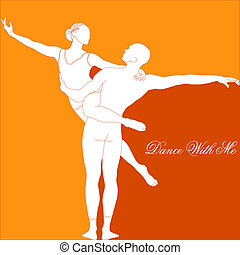 Dance with me - silhouette of a dancing couple in orange...