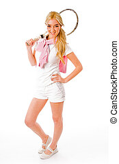 front view of smiling tennis player holding racket on an...