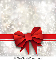 Gift paper red bow and ribbon on silver background Vector...