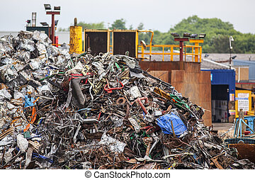Pile of scrap metal  in junk yard
