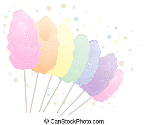 rainbow cotton candy - an illustration of cotton candy in...