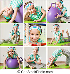 little girl engaged in fitness at home - happy little girl...