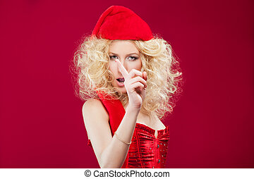 beautiful blonde sexy girl wearing santa claus clothes