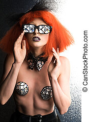 Mirrored glasses - Slender woman with red wig and mirrored...