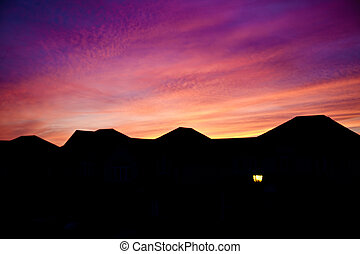 Dramatic colors of Canadian neighborhood sky