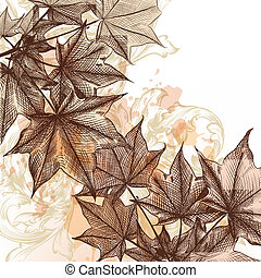 Autumn floral background with mapl - Vector floral...