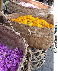 Flower petals in Ubud, Bali - Baskets of flower petals are...