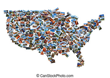 USA map shape drawn with pictures, over white background