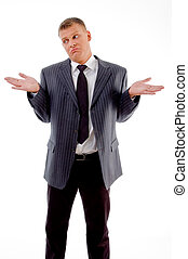 confused businessman looking aside with white background