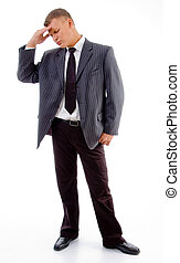 standing young businessman in tension