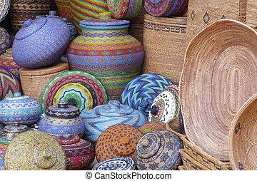 artesano, ollas, cestas, Bali