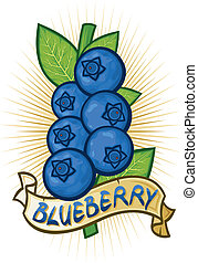 blueberries label bilberries with leaves, blueberry on...